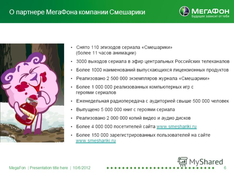 MegaFon | Presentation title here | 8/20/2012 6 О партнере МегаФона компании Смешарики