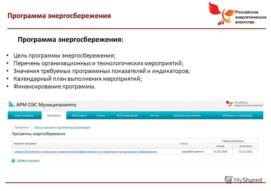 Российское энергетическое агентство Программа энергосбережения: Цель программы энергосбережения; Перечень организационных и технологических мероприятий; Значения требуемых программных показателей и индикаторов; Календарный план выполнения мероприятий