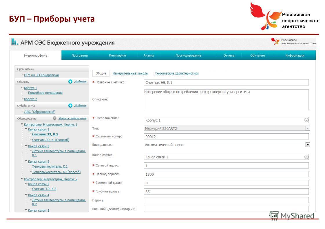 Российское энергетическое агентство БУП – Приборы учета