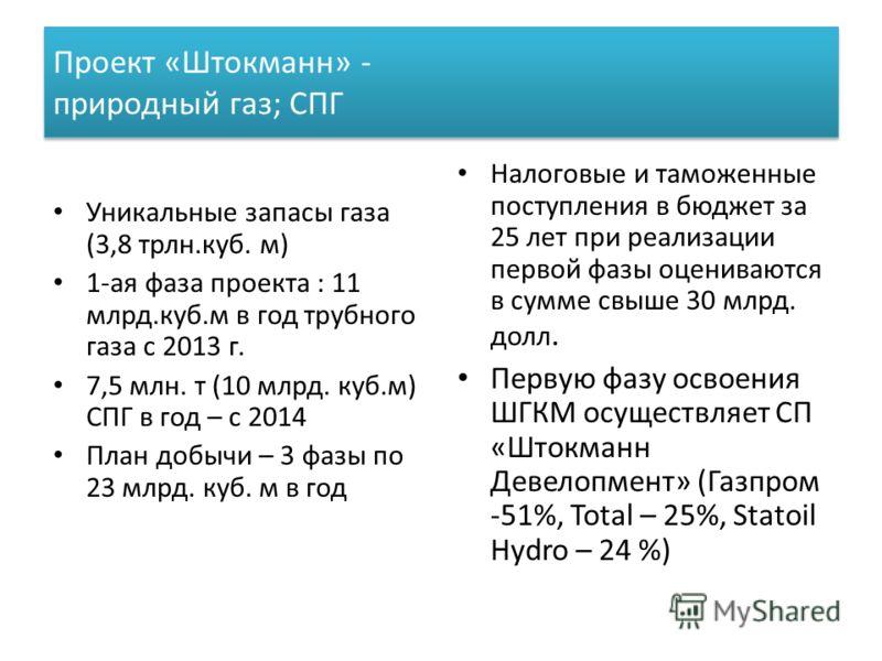 Проект «Штокманн» - природный газ; СПГ Уникальные запасы газа (3,8 трлн.куб. м) 1-ая фаза проекта : 11 млрд.куб.м в год трубного газа с 2013 г. 7,5 млн. т (10 млрд. куб.м) СПГ в год – с 2014 План добычи – 3 фазы по 23 млрд. куб. м в год Налоговые и т
