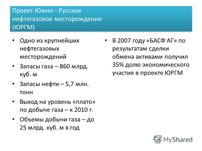 Проект Южно - Русское нефтегазовое месторождение (ЮРГМ) Одно из крупнейших нефтегазовых месторождений Запасы газа – 860 млрд. куб. м Запасы нефти – 5,7 млн. тонн Выход на уровень «плато» по добыче газа – к 2010 г. Объемы добычи газа – до 25 млрд. куб