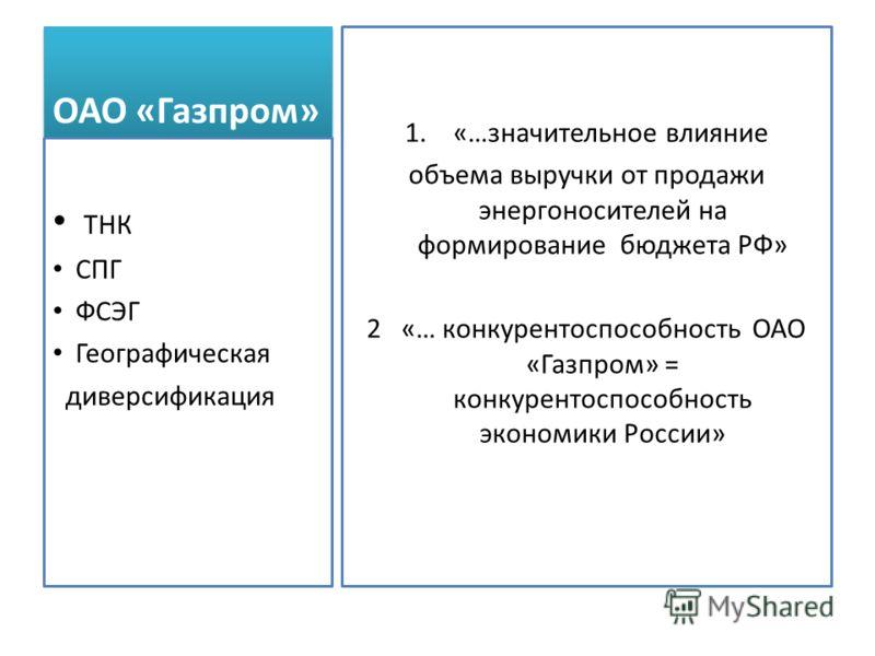 ОАО «Газпром» 1. «…значительное влияние объема выручки от продажи энергоносителей на формирование бюджета РФ» 2 «… конкурентоспособность ОАО «Газпром» = конкурентоспособность экономики России» ТНК СПГ ФСЭГ Географическая диверсификация