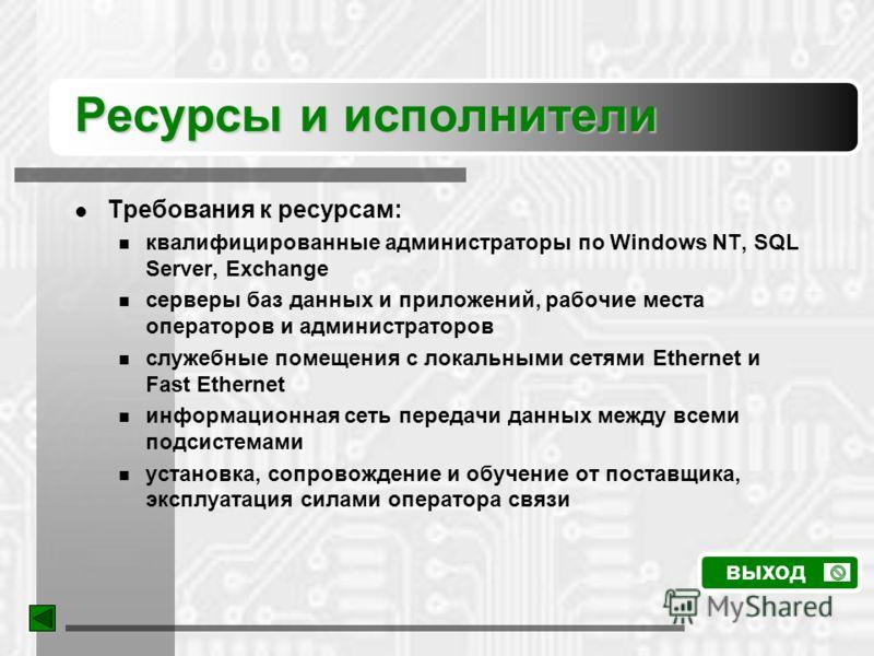 Ресурсы и исполнители Требования к ресурсам: квалифицированные администраторы по Windows NT, SQL Server, Exchange серверы баз данных и приложений, рабочие места операторов и администраторов служебные помещения с локальными сетями Ethernet и Fast Ethe