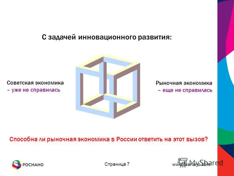 www.rusnano.com Страница 7 С задачей инновационного развития: Рыночная экономика – еще не справилась Советская экономика – уже не справилась Способна ли рыночная экономика в России ответить на этот вызов?