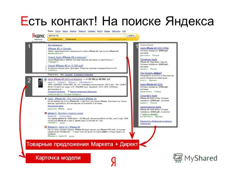2 1 Есть контакт! На поиске Яндекса 1 Товарные предложения Маркета + Директ Карточка модели