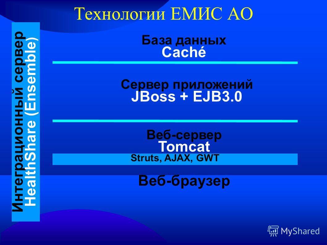 Технологии ЕМИС АО База данных Caché Сервер приложений JBoss + EJB3.0 Веб-сервер Tomcat Веб-браузер Интеграционный сервер HealthShare (Ensemble ) Struts, AJAX, GWT