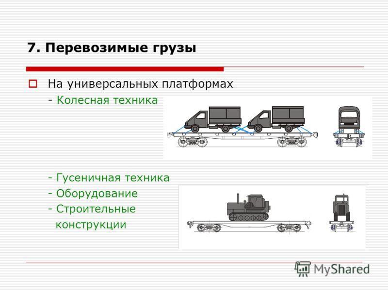 На универсальных платформах - Колесная техника - Гусеничная техника - Оборудование - Строительные конструкции 7. Перевозимые грузы