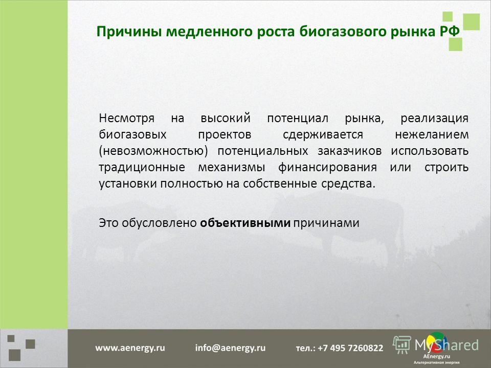 Причины медленного роста биогазового рынка РФ Несмотря на высокий потенциал рынка, реализация биогазовых проектов сдерживается нежеланием (невозможностью) потенциальных заказчиков использовать традиционные механизмы финансирования или строить установ