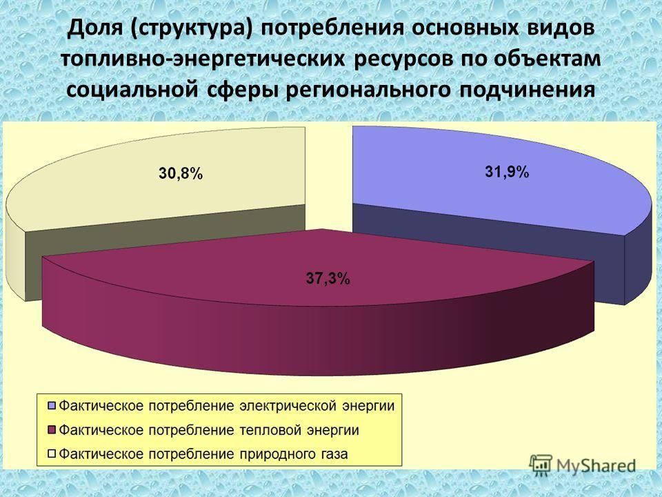 Доля (структура) потребления основных видов топливно-энергетических ресурсов по объектам социальной сферы регионального подчинения