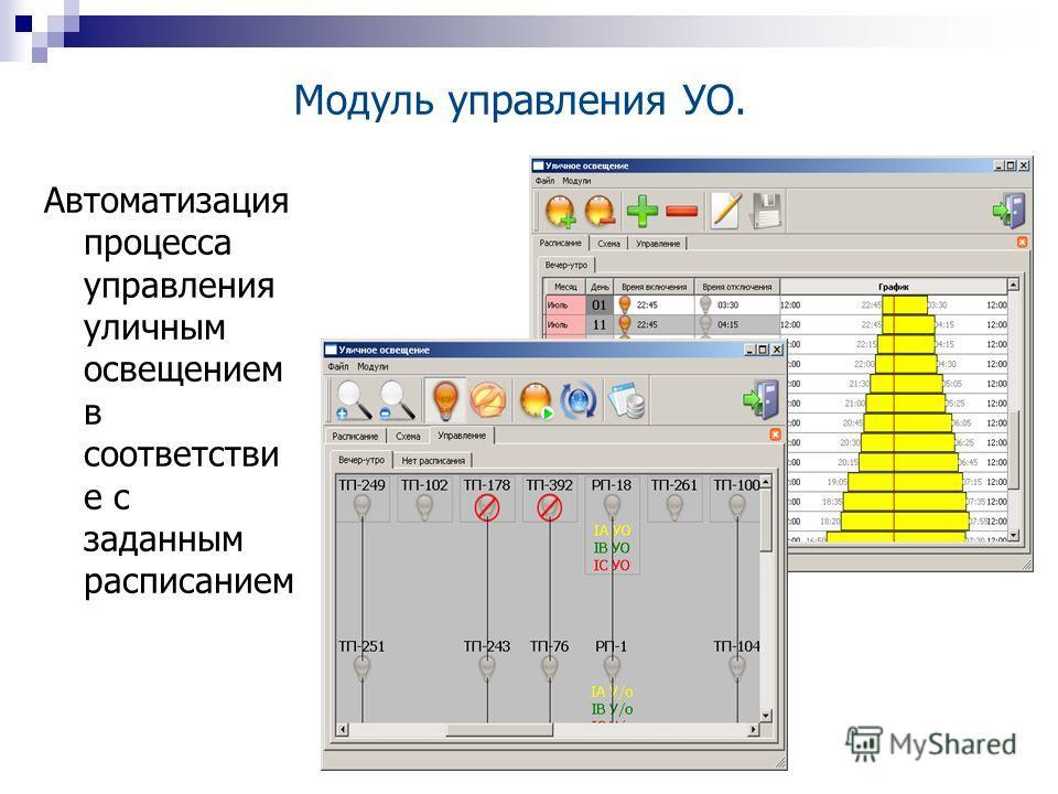 Автоматизация процесса управления уличным освещением в соответстви е с заданным расписанием Модуль управления УО.