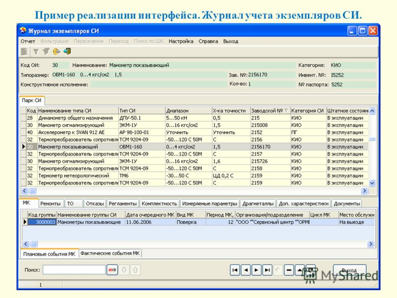 Пример реализации интерфейса. Журнал учета экземпляров СИ.