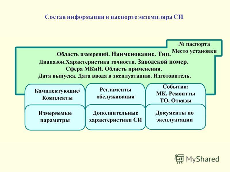 Состав информации в паспорте экземпляра СИ
