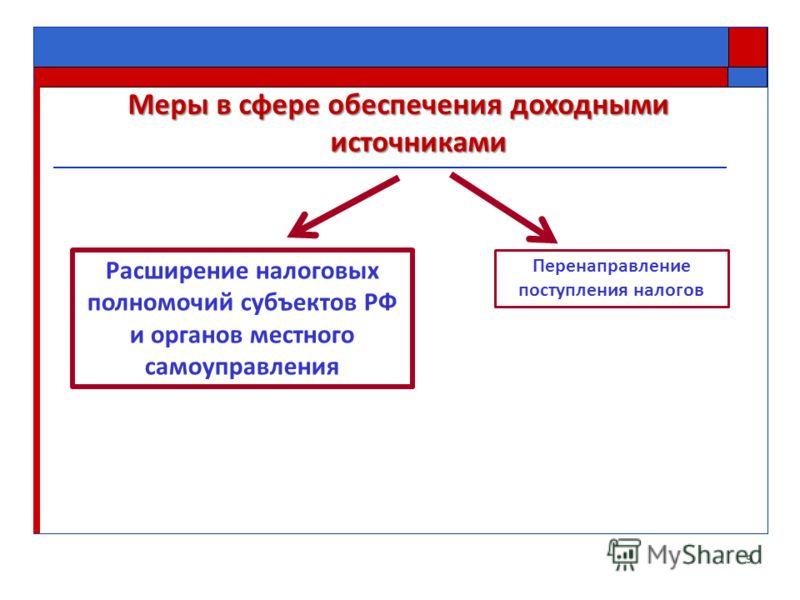 Меры в сфере обеспечения доходными источниками 9 Расширение налоговых полномочий субъектов РФ и органов местного самоуправления Перенаправление поступления налогов