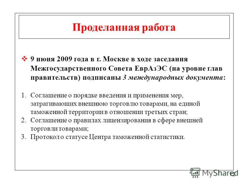 12 Проделанная работа 9 июня 2009 года в г. Москве в ходе заседания Межгосударственного Совета ЕврАзЭС (на уровне глав правительств) подписаны 3 международных документа: 1.Соглашение о порядке введения и применения мер, затрагивающих внешнюю торговлю