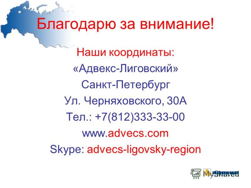 Благодарю за внимание! Наши координаты: «Адвекс-Лиговский» Санкт-Петербург Ул. Черняховского, 30А Тел.: +7(812)333-33-00 www.advecs.com Skype: advecs-ligovsky-region