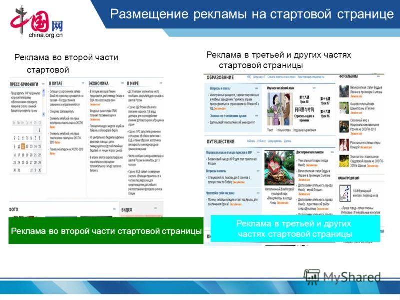 Размещение рекламы на стартовой странице Реклама во второй части стартовой страницы Реклама в третьей и других частях стартовой страницы Реклама во второй части стартовой страницы Реклама в третьей и других частях стартовой страницы