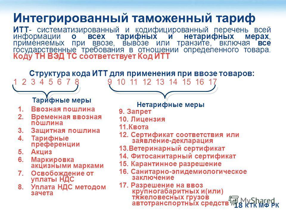 18 Интегрированный таможенный тариф ИТТ- систематизированный и кодифицированный перечень всей информации о всех тарифных и нетарифных мерах, применяемых при ввозе, вывозе или транзите, включая все государственные требования в отношении определенного