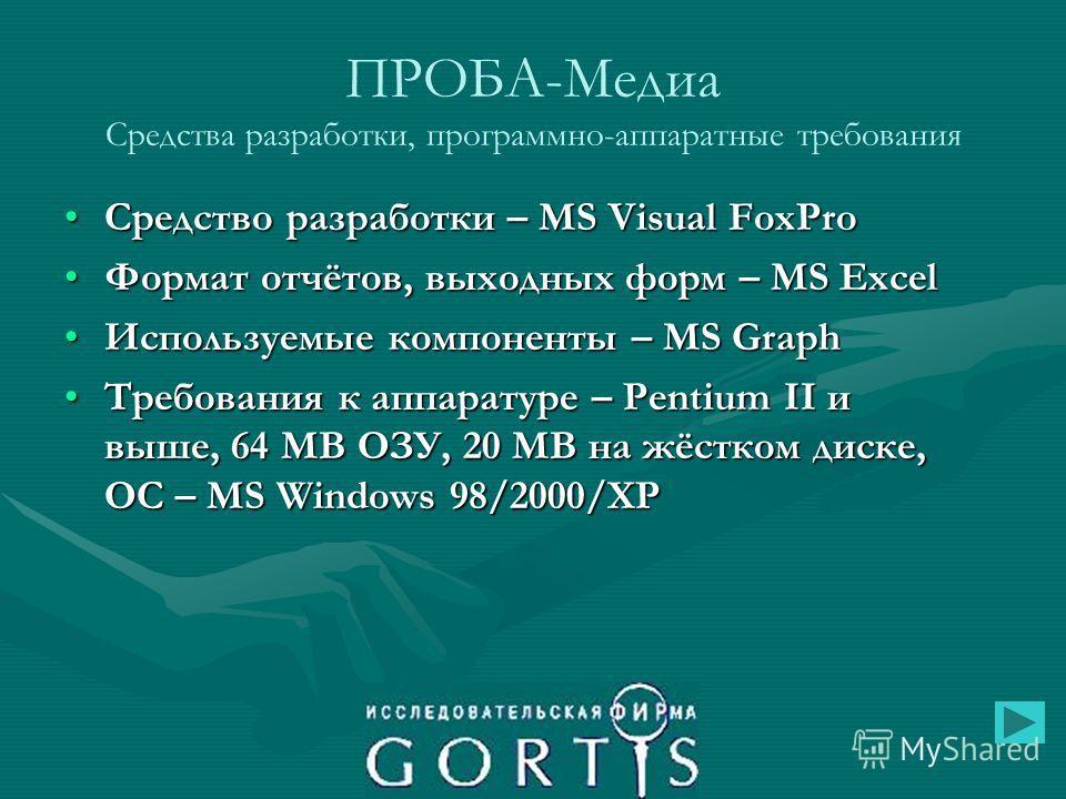 ПРОБА-Медиа Средства разработки, программно-аппаратные требования Средство разработки – MS Visual FoxProСредство разработки – MS Visual FoxPro Формат отчётов, выходных форм – MS ExcelФормат отчётов, выходных форм – MS Excel Используемые компоненты –