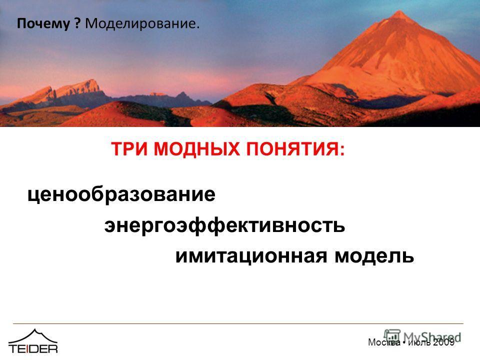 Москва июль 2009 ТРИ МОДНЫХ ПОНЯТИЯ: ценообразование энергоэффективность имитационная модель Почему ? Моделирование.