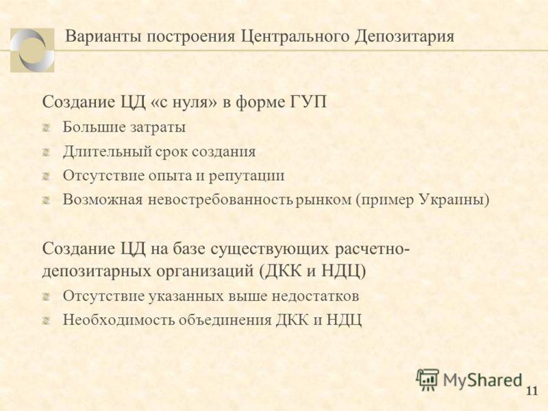 11 Варианты построения Центрального Депозитария Создание ЦД «с нуля» в форме ГУП Большие затраты Длительный срок создания Отсутствие опыта и репутации Возможная невостребованность рынком (пример Украины) Создание ЦД на базе существующих расчетно- деп