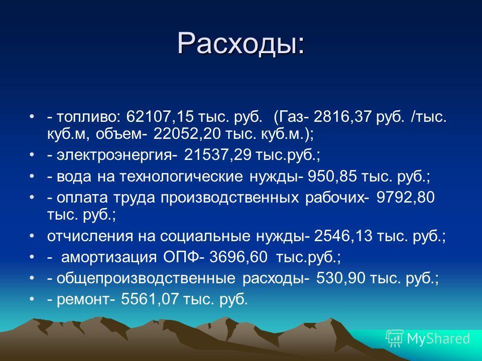 Расходы: - топливо: 62107,15 тыс. руб. (Газ- 2816,37 руб. /тыс. куб.м, объем- 22052,20 тыс. куб.м.); - электроэнергия- 21537,29 тыс.руб.; - вода на технологические нужды- 950,85 тыс. руб.; - оплата труда производственных рабочих- 9792,80 тыс. руб.; о
