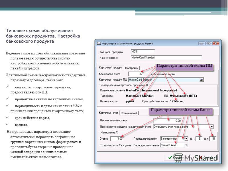 Типовые схемы обслуживания банковских продуктов. Настройка банковского продукта Ведение типовых схем обслуживания позволяет пользователю осуществлять гибкую настройку комиссионного обслуживания, пеней и штрафов. Для типовой схемы настраиваются станда