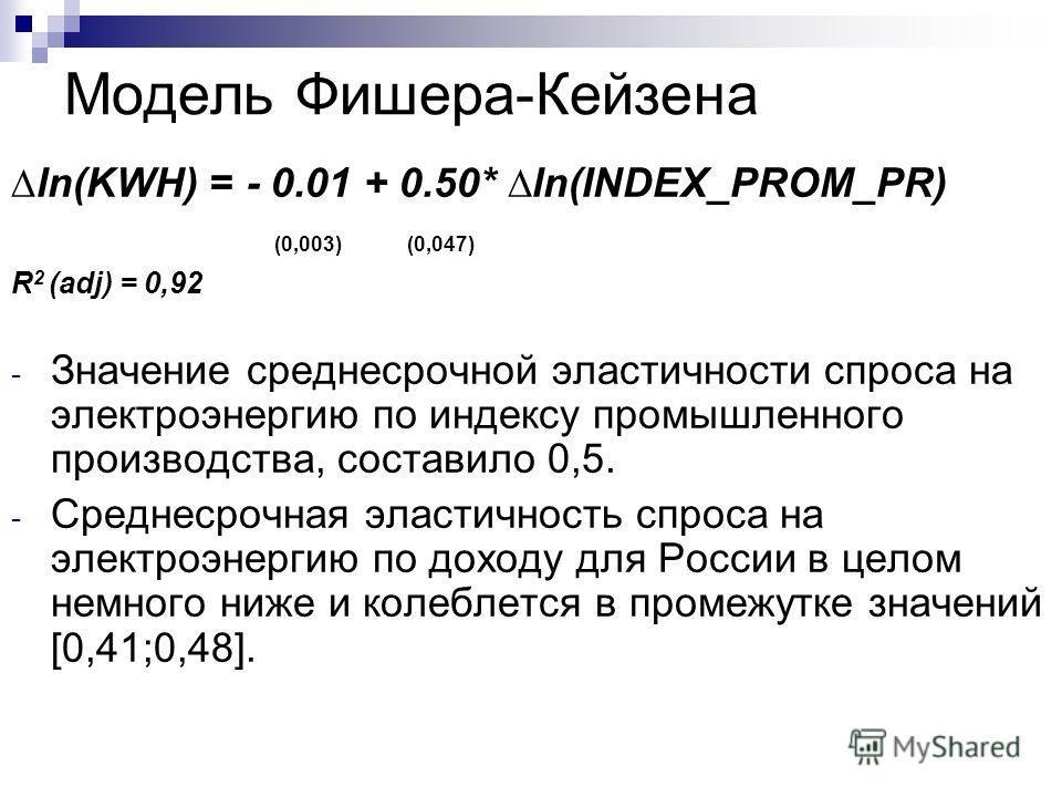 Модель Фишера-Кейзена ln(KWH) = - 0.01 + 0.50* ln(INDEX_PROM_PR) (0,003) (0,047) R 2 (adj) = 0,92 - Значение среднесрочной эластичности спроса на электроэнергию по индексу промышленного производства, составило 0,5. - Среднесрочная эластичность спроса