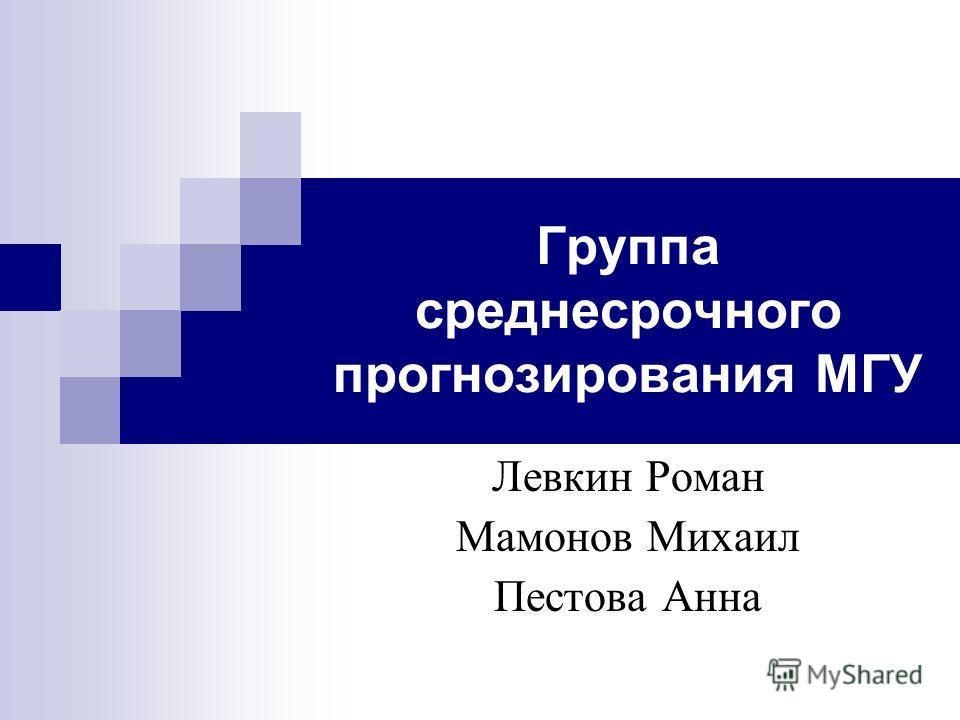 Группа среднесрочного прогнозирования МГУ Левкин Роман Мамонов Михаил Пестова Анна