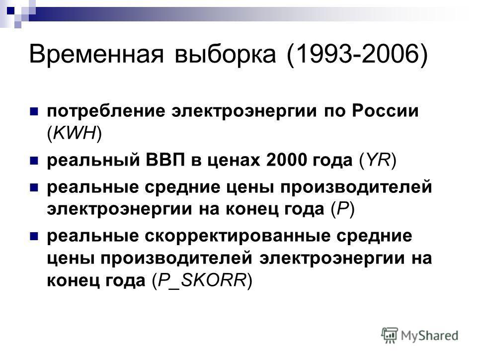 Временная выборка (1993-2006) потребление электроэнергии по России (KWH) реальный ВВП в ценах 2000 года (YR) реальные средние цены производителей электроэнергии на конец года (P) реальные скорректированные средние цены производителей электроэнергии н