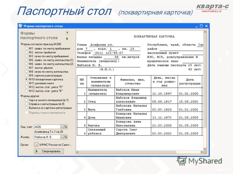 слайд 110 Паспортный стол (поквартирная карточка)
