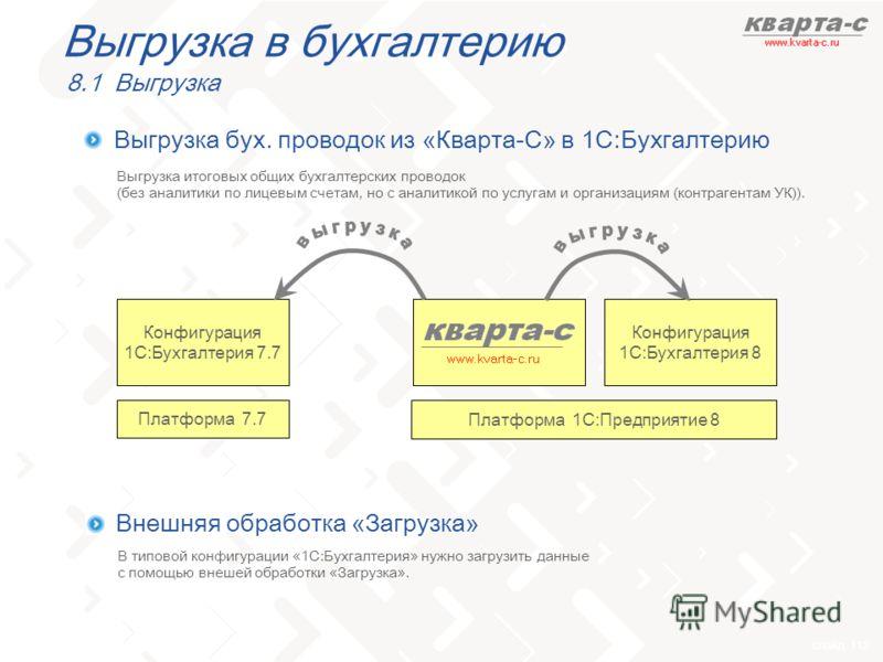 слайд 112 Выгрузка в бухгалтерию 8.1 Выгрузка Выгрузка бух. проводок из «Кварта-С» в 1С:Бухгалтерию Конфигурация 1С:Бухгалтерия 8 Платформа 1С:Предприятие 8 Конфигурация 1С:Бухгалтерия 7.7 Платформа 7.7 Выгрузка итоговых общих бухгалтерских проводок