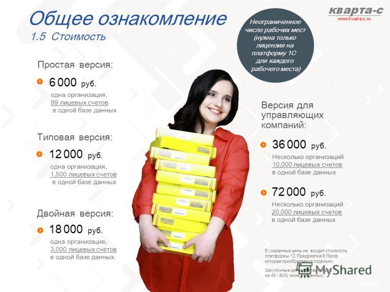 слайд 9 cлайд 4 Версия для управляющих компаний: Типовая версия: 12 000 руб. одна организация, 1,500 лицевых счетов в одной базе данных 36 000 руб. Несколько организаций 10,000 лицевых счетов в одной базе данных 72 000 руб. Несколько организаций 20,0