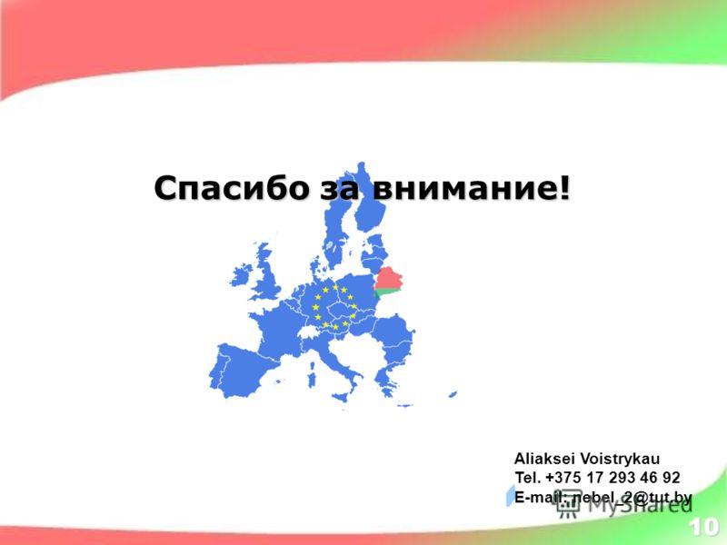 10 Aliaksei Voistrykau Tel. +375 17 293 46 92 E-mail: nebel_2@tut.by Спасибо за внимание!
