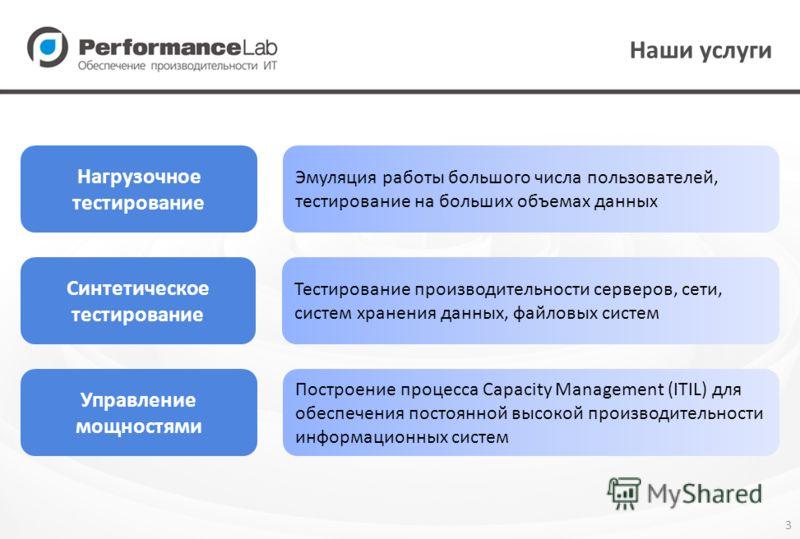 3 Наши услуги Нагрузочное тестирование Управление мощностями Эмуляция работы большого числа пользователей, тестирование на больших объемах данных Построение процесса Capacity Management (ITIL) для обеспечения постоянной высокой производительности инф