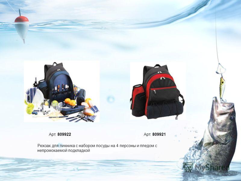 Рюкзак для пикника с набором посуды на 4 персоны и пледом с непромокаемой подкладкой Арт. 809922Арт. 809921