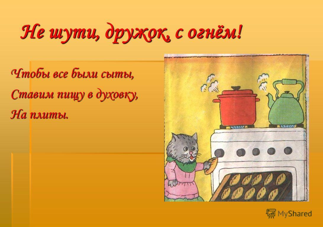Не шути, дружок, с огнём! Чтобы все были сыты, Ставим пищу в духовку, На плиты.