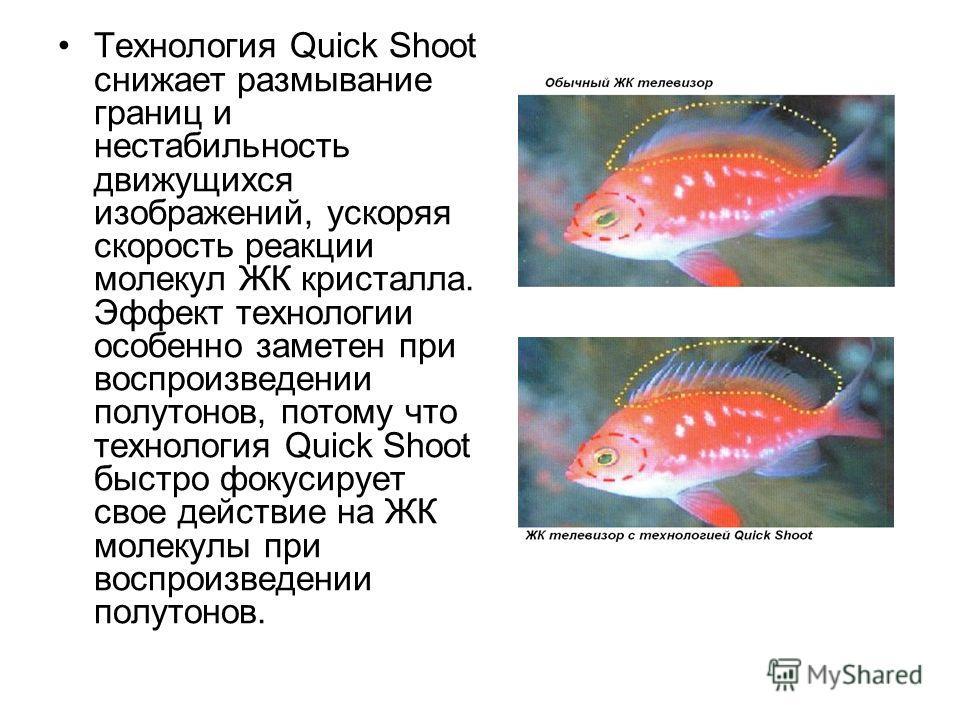 Технология Quick Shoot снижает размывание границ и нестабильность движущихся изображений, ускоряя скорость реакции молекул ЖК кристалла. Эффект технологии особенно заметен при воспроизведении полутонов, потому что технология Quick Shoot быстро фокуси