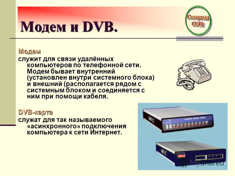 Модем и DVB. Модем служит для связи удалённых компьютеров по телефонной сети. Модем бывает внутренний (установлен внутри системного блока) и внешний (располагается рядом с системным блоком и соединяется с ним при помощи кабеля. DVB-карта служат для т