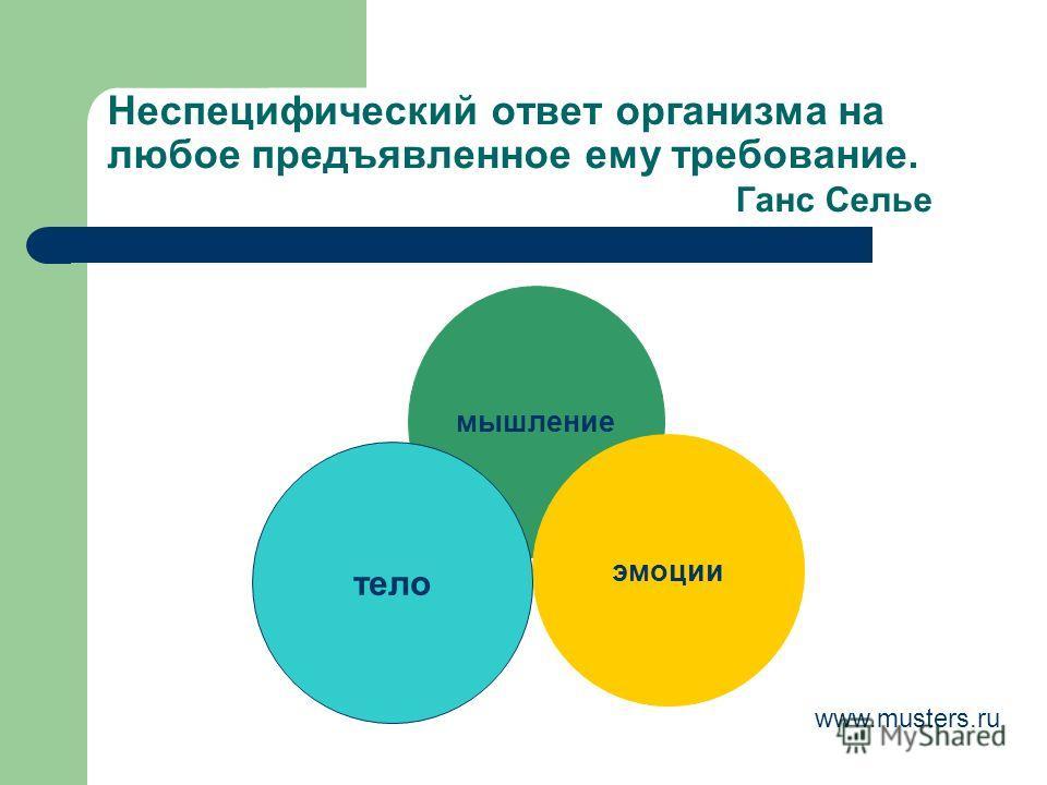 Неспецифический ответ организма на любое предъявленное ему требование. Ганс Селье мышление эмоции тело www.musters.ru