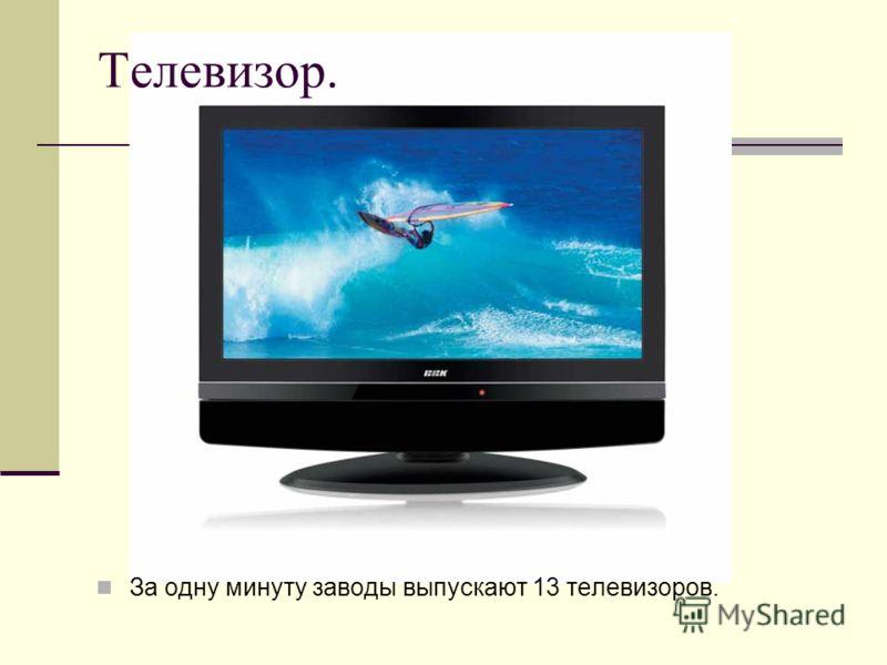 Телевизор. За одну минуту заводы выпускают 13 телевизоров.