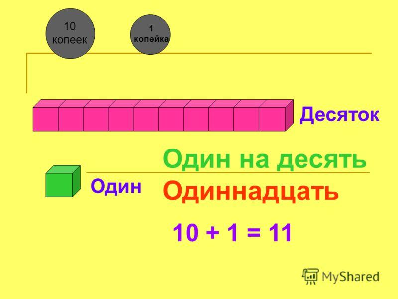 Десяток Один Один на десять Одиннадцать 10 + 1 = 11 10 копеек 1 копейка