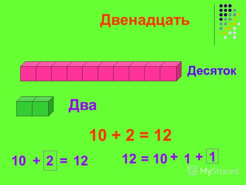 Десяток Два Двенадцать 10 + 2 = 12 10+ 2 =12 =10 + 1 +1