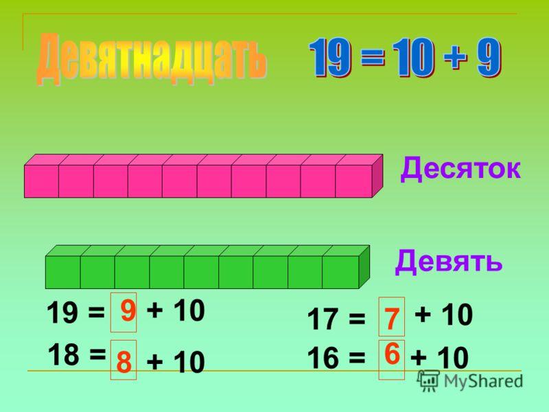 Десяток Девять 19 = 18 = + 10 17 = 16 = 9 8 7 6