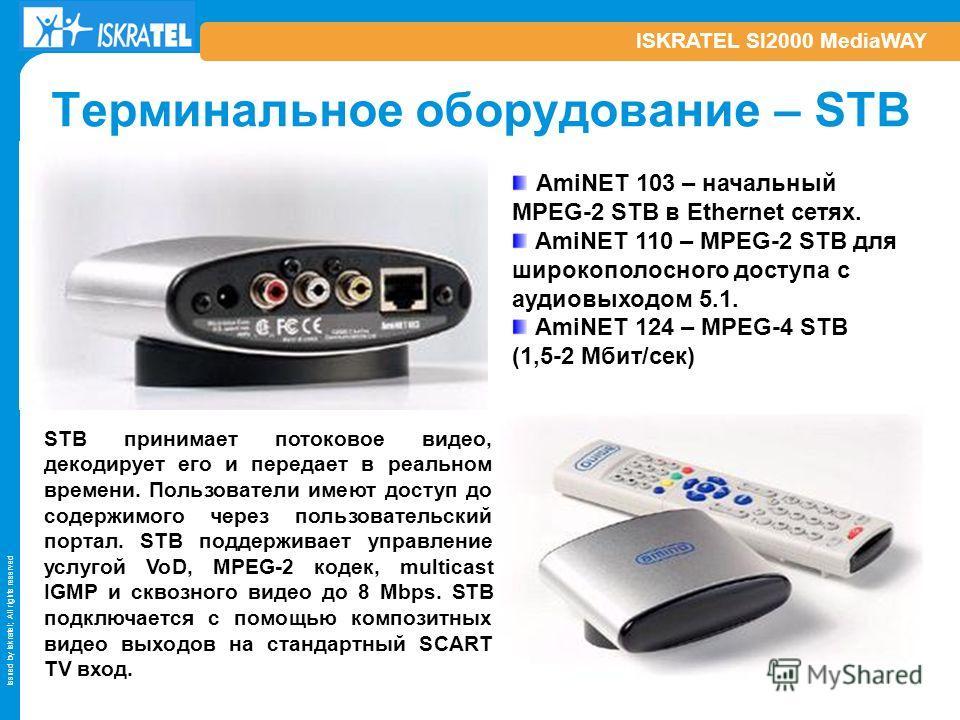 Issued by Iskratel; All rights reserved ISKRATEL SI2000 MediaWAY Терминальное оборудование – STB STB принимает потоковое видео, декодирует его и передает в реальном времени. Пользователи имеют доступ до содержимого через пользовательский портал. STB