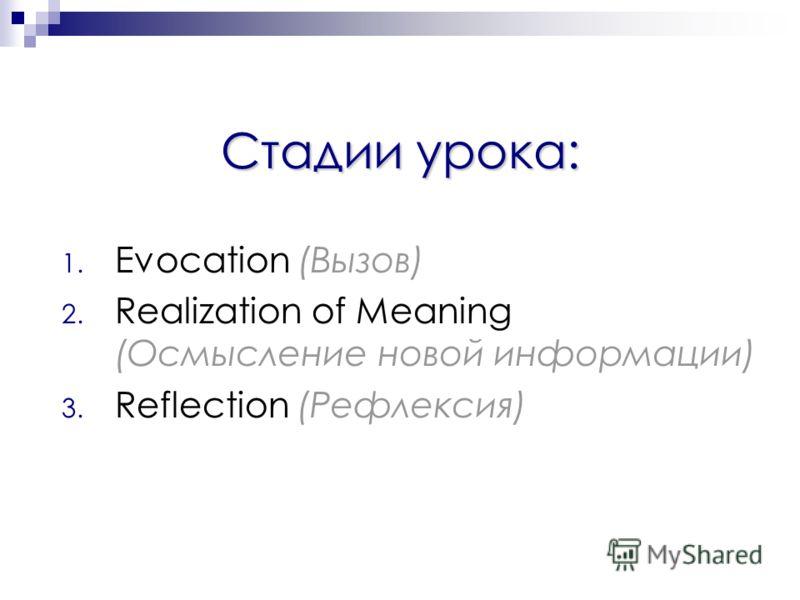 Стадии урока: 1. Evocation (Вызов) 2. Realization of Meaning (Осмысление новой информации) 3. Reflection (Рефлексия)