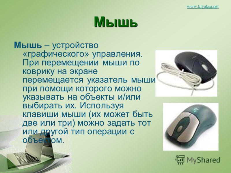 www.klyaksa.netМышь Мышь – устройство «графического» управления. При перемещении мыши по коврику на экране перемещается указатель мыши, при помощи которого можно указывать на объекты и/или выбирать их. Используя клавиши мыши (их может быть две или тр