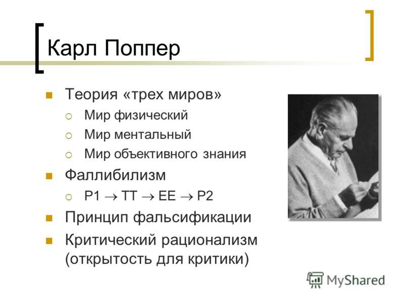 Карл Поппер Теория «трех миров» Мир физический Мир ментальный Мир объективного знания Фаллибилизм P1 TT EE P2 Принцип фальсификации Критический рационализм (открытость для критики)