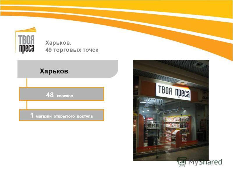 Харьков. 49 торговых точек Харьков 12 супермаркетов 1 магазин открытого доступа 48 киосков
