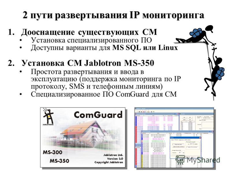 2 пути развертывания IP мониторинга 1.Дооснащение существующих СМ Установка специализированного ПО Доступны варианты для MS SQL или Linux 2.Установка СМ Jablotron MS-350 Простота развертывания и ввода в эксплуатацию (поддержка мониторинга по IP прото