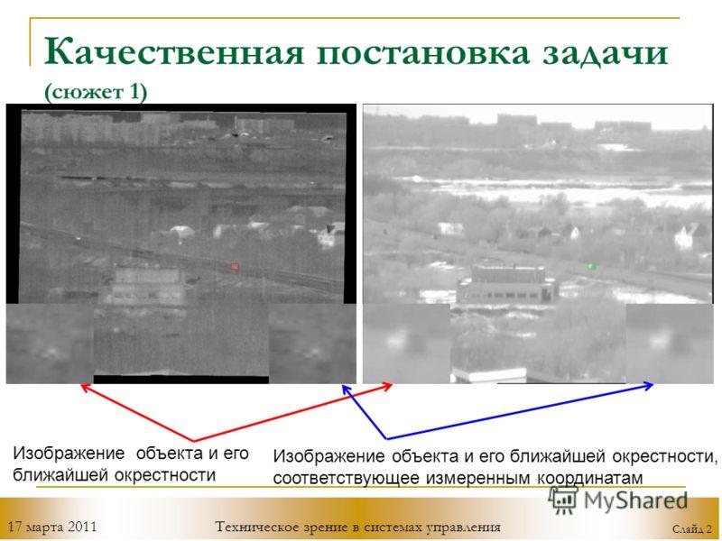 17 марта 2011Техническое зрение в системах управления Слайд 2 Качественная постановка задачи (сюжет 1) Изображение объекта и его ближайшей окрестности Изображение объекта и его ближайшей окрестности, соответствующее измеренным координатам